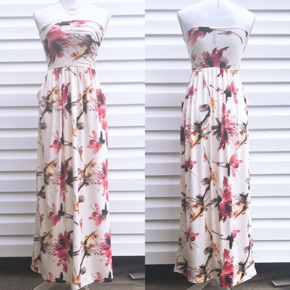 Rags and Couture Dresses & Skirts - NEW Ivory Floral Strapless Ruched Maxi Dress